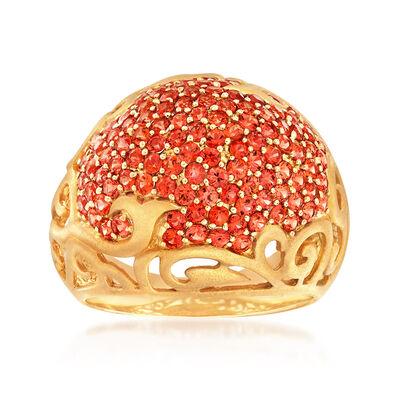 C. 1990 Vintage 1.65 ct. t.w. Orange Garnet Cluster Ring in 14kt Yellow Gold, , default
