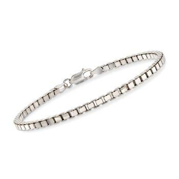 """Italian Sterling Silver Box Chain Bracelet. 8"""", , default"""