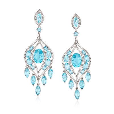 35.60 ct. t.w. Blue Topaz and 4.00 ct. t.w. White Zircon Chandelier Drop Earrings in Sterling Silver, , default