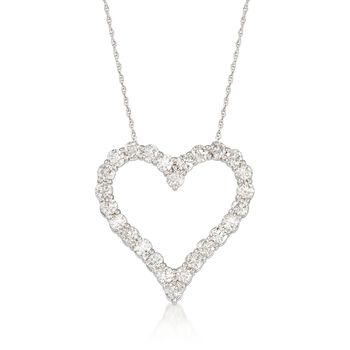 "2.00 ct. t.w. Diamond Open-Space Heart Necklace in 14kt White Gold. 18"", , default"