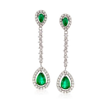 1.40 ct. t.w. Emerald and .86 ct. t.w. Diamond Drop Earrings in 14kt White Gold, , default