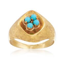 C. 1970 Vintage Blue Glass Cluster Ring in 18kt Yellow Gold, , default