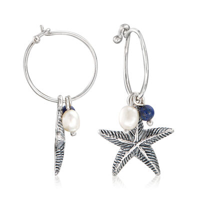 Cultured Pearl and Lapis Starfish Hoop Drop Earrings in Sterling Silver, , default