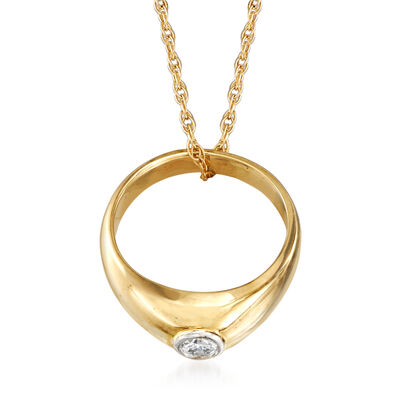 C. 1980 Vintage 14kt Yellow Gold Diamond-Accented Ring Pendant Necklace