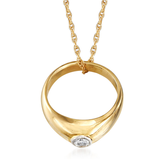 """C. 1980 Vintage 14kt Yellow Gold Diamond-Accented Ring Pendant Necklace. 18"""", , default"""