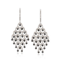 2.00 ct. t.w. Black and White Diamond Chandelier Earrings in Sterling Silver, , default