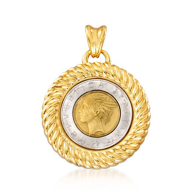 Italian Andiamo 14kt Yellow Gold Genuine 500-Lira Coin Pendant