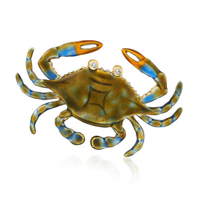 C. 1970 Vintage Multicolored Enamel Crab Pin with Diamond-Accented Eyes in 14kt Yellow Gold