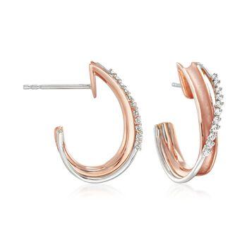 "Simon G. ""Modern Enchantment"" .13 ct. t.w. Diamond Curve J-Hoop Earrings in 18kt Two-Tone Gold. 5/8"", , default"