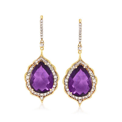 16.00 ct. t.w. Amethyst and 1.30 ct. t.w. Diamond Drop Earrings in 14kt Yellow Gold