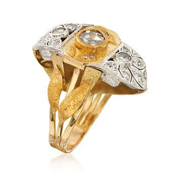 C. 1980 Vintage 1.00 ct. t.w. Diamond Leaf Dinner Ring in 18kt and 24kt Gold. Size 7, , default