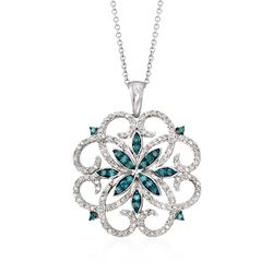 .76 ct. t.w. Blue and White Diamond Scrolling Medallion Pendant Necklace in Sterling Silver, , default