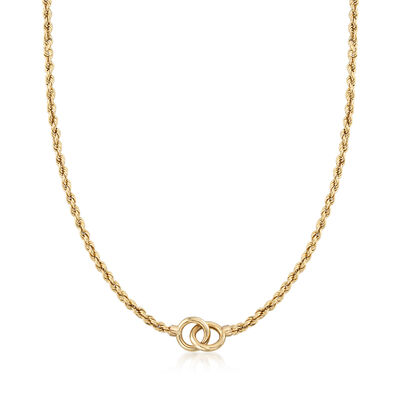 14kt Yellow Gold Interlocking Open Circle Rope Chain Necklace, , default