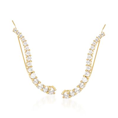 1.40 ct. t.w. CZ Ear Crawlers in 14kt Gold Over Sterling, , default
