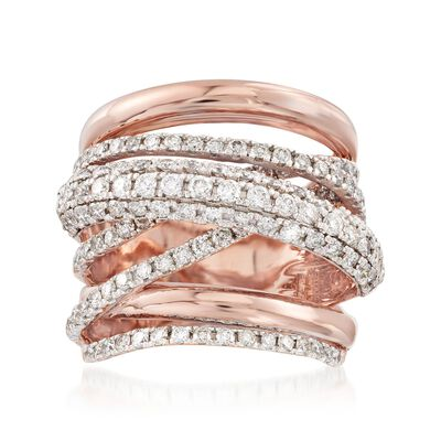 1.50 ct. t.w. Diamond Multi-Row Highway Ring in 14kt Rose Gold