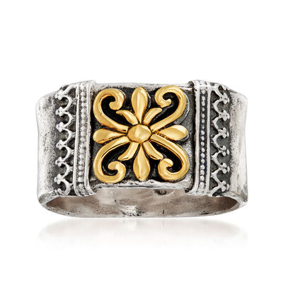 Sterling Silver with 14kt Yellow Gold Scroll- Design Ring, , default