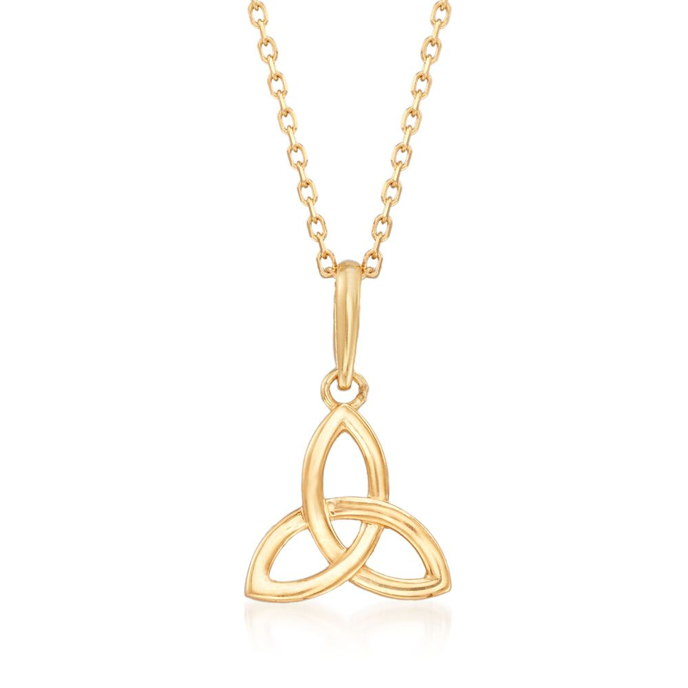 18kt Yellow Gold Celtic Trinity Knot Pendant Necklace 18 Ross Simons