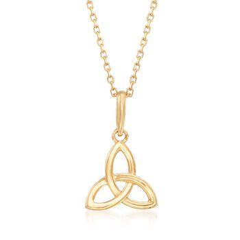 "18kt Yellow Gold Celtic Trinity Knot Pendant Necklace. 18"", , default"