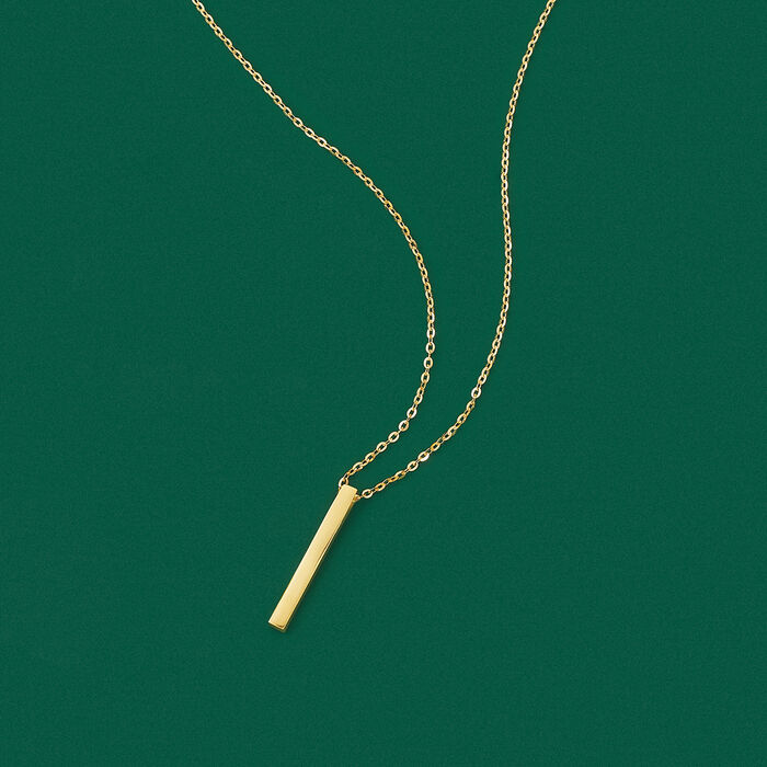 18kt Yellow Gold Vertical Bar Necklace