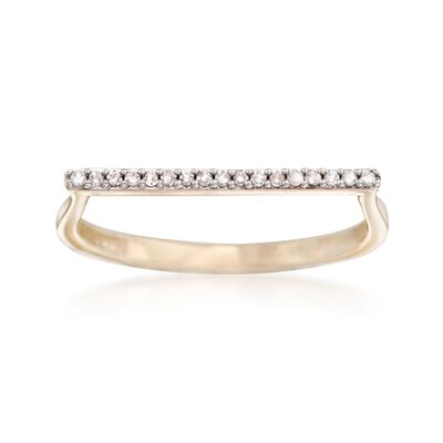 Diamond-Accented Bar Ring in 14kt Yellow Gold, , default