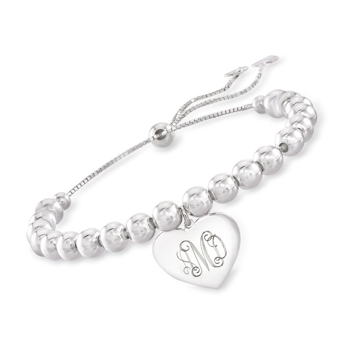 Sterling Silver Personalized Heart and Bead Bolo Bracelet