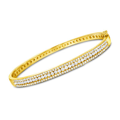 2.00 ct. t.w. Diamond Bangle Bracelet in 18kt Gold Over Sterling