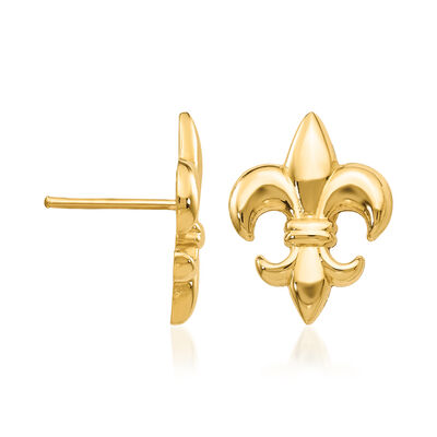 14kt Yellow Gold Fleur-De-Lis Earrings