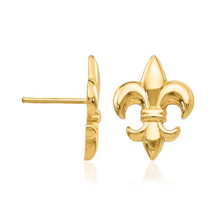 14kt Yellow Gold Fleur-De-Lis Earrings