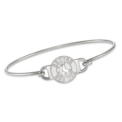"""Sterling Silver MLB Boston Red Sox Small Center Wire Bangle Bracelet. 7"""", , default"""
