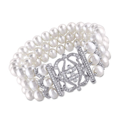 7-8mm Cultured Pearl and .85 ct. t.w. CZ Multi-Row Bracelet With Sterling Silver, , default