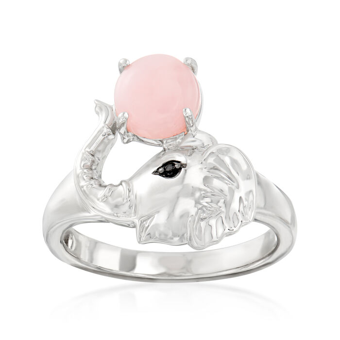 Pink Opal Elephant Ring in Sterling Silver