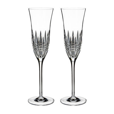"Waterford Crystal ""Diamond Essence"" Set of 2 Lismore Toasting Flute Glasses"