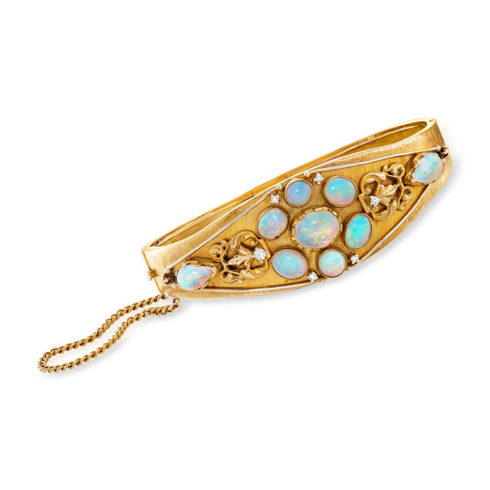 """C. 1950 Vintage Opal and .12 ct. t.w. Diamond Bangle Bracelet in 14kt Yellow Gold. 7"""""""