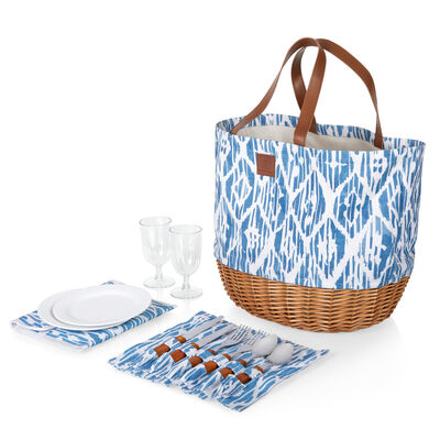 """""""Promenade"""" Service for 2 Blue and White Moroccan Pattern Picnic Basket Set"""