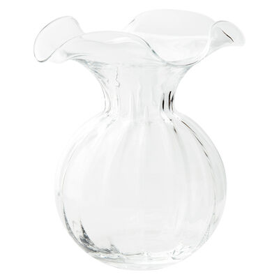 "Vietri ""Hibiscus"" Large Fluted Glass Vase from Italy"