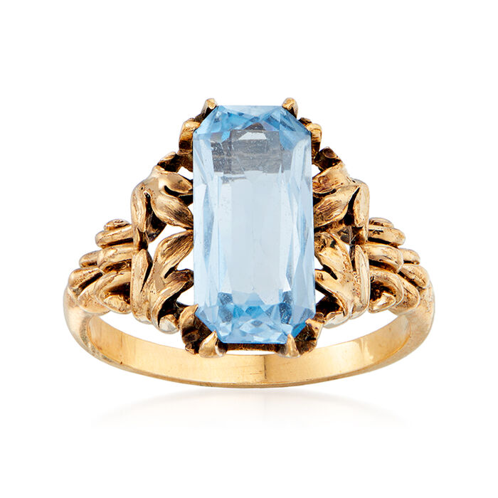 C. 1970 Vintage 3.00 Carat Synthetic Blue Spinel Ring in 10kt Yellow Gold. Size 6.5, , default
