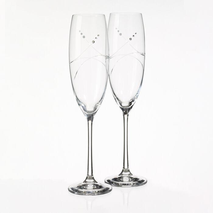 """Tiara"" Set of 2 Toasting Flute Glasses"