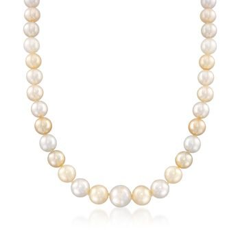 """C. 2000 Vintage 9-11mm Champagne Cultured Pearl Necklace With Diamond Accents in 18kt White Gold. 18.5"""", , default"""