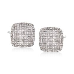 2.00 ct. t.w. Pave Diamond Square Earrings in 14kt White Gold, , default