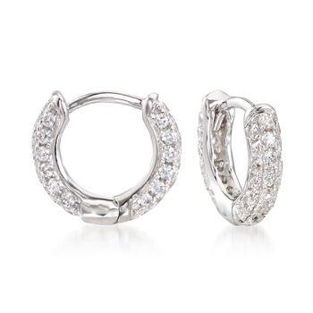 """.50 ct. t.w. CZ Huggie Hoop Earrings in Sterling Silver. 3/8"""", , default"""