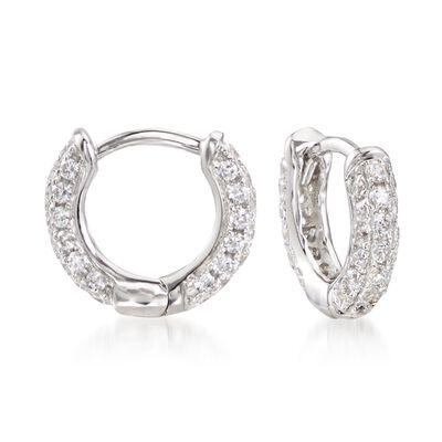 .50 ct. t.w. CZ Huggie Hoop Earrings in Sterling Silver, , default