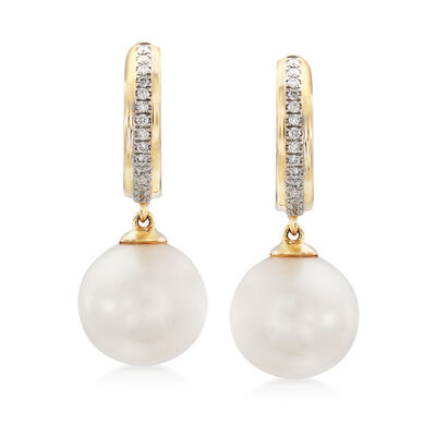 Cultured Pearl and .12 ct. t.w. Diamond Drop Earrings in 14kt Yellow Gold, , default