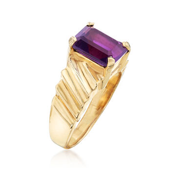 C. 1980 Vintage 3.00 Carat Amethyst Ring in 14kt Yellow Gold. Size 8.5, , default