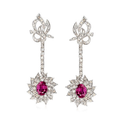C. 1970 Vintage 3.45 ct. t.w. Ruby and 2.10 ct. t.w. Diamond Drop Earrings in 14kt White Gold , , default