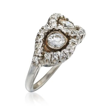 C. 1990 Vintage .90 ct. t.w. Diamond Figure-Eight Ring in 14kt White Gold. Size 5.25