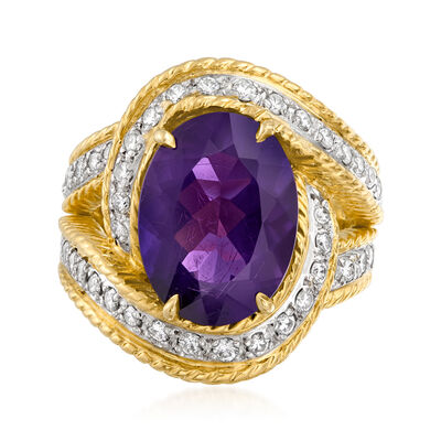 C. 1980 Vintage 5.50 Carat Amethyst and 1.00 ct. t.w. Diamond Ring in 18kt Yellow Gold