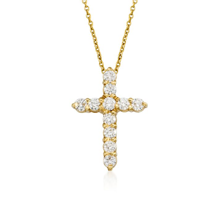 Roberto Coin .45 ct. t.w. Diamond Cross Necklace in 18kt Yellow Gold, , default