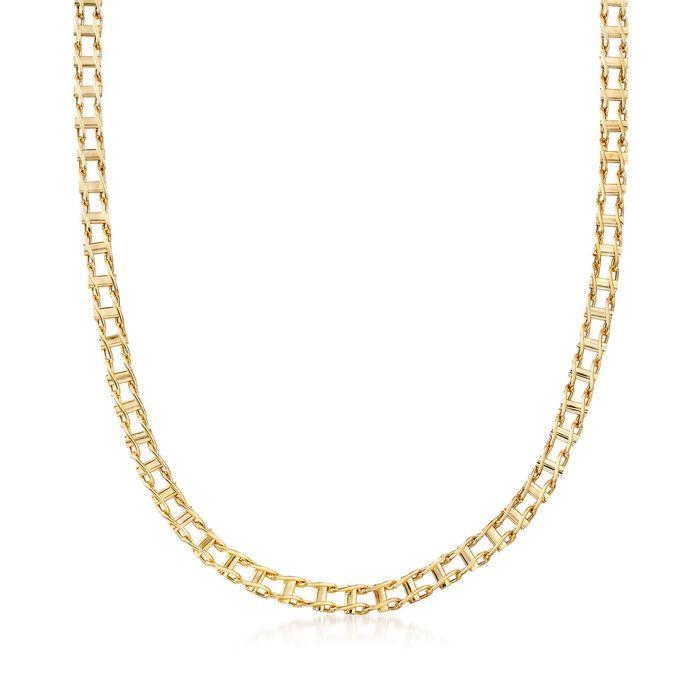"Men's 14kt Yellow Gold Bar-Link Necklace. 20"", , default"
