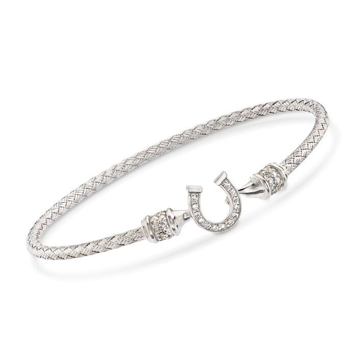 "Charles Garnier ""Lucky"" .25 ct. t.w. CZ Horseshoe Bracelet in Sterling Silver. 7"", , default"