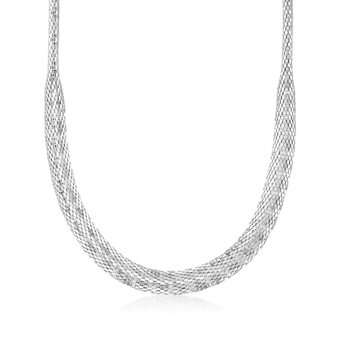 "Italian Sterling Silver Tapered Mesh Necklace. 17"", , default"